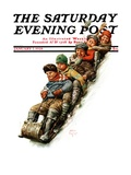 """Tobogganing,"" Saturday Evening Post Cover, January 7, 1928 Giclee Print by Alan Foster"