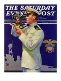 """Naval Officer,"" Saturday Evening Post Cover, February 24, 1934 Reproduction procédé giclée par Edgar Franklin Wittmack"