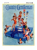 """Children on Swimming Platform,"" Country Gentleman Cover, July 1, 1931 Giclee Print by William Meade Prince"