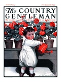 """Toddler Watering Geraniums,"" Country Gentleman Cover, June 28, 1924 Giclee Print by Katherine R. Wireman"