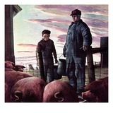 &quot;Slopping the Pigs,&quot;November 1, 1942 Giclee Print by Robert Riggs