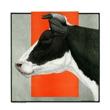 """Black and White Cow in Profile,""July 21, 1923 Giclee Print by Charles Bull"