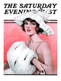 """Ermine Muff,"" Saturday Evening Post Cover, January 6, 1923 Giclee Print by Ellen Pyle"