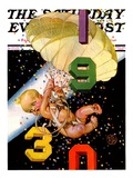 &quot;Parachuting Baby New Year,&quot; Saturday Evening Post Cover, December 28, 1929 Giclee Print by J.C. Leyendecker
