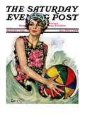 """Bathing Beauty and Beach Ball,"" Saturday Evening Post Cover, August 7, 1926 Giclee Print by Ellen Pyle"
