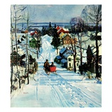 """Sleigh on Snowy Village Street,""February 1, 1931 Giclee Print by Walter Baum"