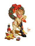 """Christmas Stocking Joy,""December 24, 1938 Giclee Print by J.C. Leyendecker"