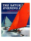 """Iceboats Racing,"" Saturday Evening Post Cover, February 18, 1939 Giclee Print by Ski Weld"