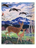 """""""Spring in the Meadow,""""March 1, 1938 Giclee Print by Paul Bransom"""