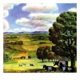 """Farm Landscape,""April 1, 1942 Giclee Print by J. Steuart Curry"