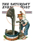 """Watering the Elephant,"" Saturday Evening Post Cover, July 16, 1927 Giclee Print by Alan Foster"