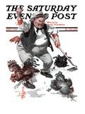 """Shoo Chickens !,"" Saturday Evening Post Cover, June 2, 1923 Reproduction procédé giclée par Joseph Christian Leyendecker"