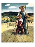 """Father and Son on Hay Wagon,""June 1, 1944 Giclee Print by Newell Convers Wyeth"