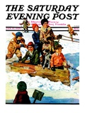 """Homemade Sleigh,"" Saturday Evening Post Cover, January 19, 1929 Giclee Print by Eugene Iverd"