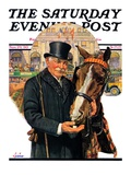 &quot;Coachman and Horse,&quot; Saturday Evening Post Cover, November 29, 1930 Giclee Print by J.F. Kernan