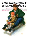 """Sledding with Grandpa,"" Saturday Evening Post Cover, February 8, 1930 Giclee Print by Alan Foster"