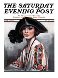 """Woman in Embroidered Blouse,"" Saturday Evening Post Cover, May 5, 1923 Giclee Print by Neysa Mcmein"