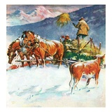 """Feeding Herd in Winter,""March 1, 1945 Giclee Print by Matt Clark"