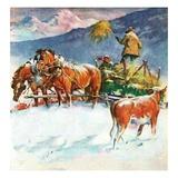 """Feeding Herd in Winter,""March 1, 1945 Giclee Print by Matt Clark"
