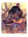 """Turkey in the Tree,""November 25, 1939 Giclee Print by J.C. Leyendecker"