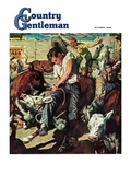 """""""Calf Roping Contest,"""" Country Gentleman Cover, October 1, 1948 Giclee Print by W.C. Griffith"""