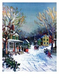 """Christmas Day in the Village,""December 1, 1938 Giclee Print by Walter Baum"