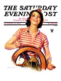"""Woman Takes the Wheel,"" Saturday Evening Post Cover, October 14, 1933 Giclee Print by Robert C. Kauffmann"
