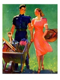 """Pushing Her Wheelbarrow,""April 1, 1938 Giclee Print by F. Sands Brunner"