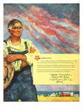 """Farming for the War Effort,""June 1, 1945 Giclee Print by Benton Clark"