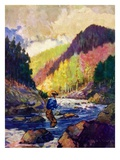 """Mountain Stream Fishing,""May 1, 1938 Giclee Print by Q. Marks"