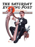 &quot;Offkey Harpist,&quot; Saturday Evening Post Cover, April 4, 1925 Giclee Print by Elbert Mcgran Jackson