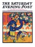 """Japanese Woman in Garden,"" Saturday Evening Post Cover, March 2, 1929 Giclee Print by Henry Soulen"