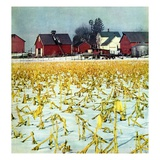 """Winter Cornfield,""January 1, 1946 Giclee Print by Thomas Benner"