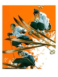 """Ski Jumpers,""February 26, 1938 Giclee Print by Ski Weld"