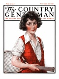 """Woman Tennis Player,"" Country Gentleman Cover, July 19, 1924 Giclee Print by J. Knowles Hare"