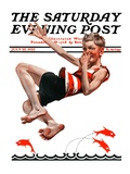 """Nose Dive,"" Saturday Evening Post Cover, July 25, 1925 Giclee Print by Elbert Mcgran Jackson"