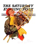 """""""Woman and Snowshoes,"""" Saturday Evening Post Cover, February 8, 1936 Giclee Print by Henrietta McCaig Starret"""