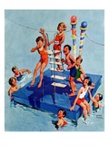 """Children on Swimming Platform,""July 1, 1931 Giclee Print by William Meade Prince"