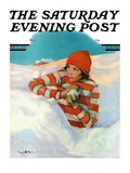 """Snowball Fight,"" Saturday Evening Post Cover, February 18, 1928 Giclee Print by Penrhyn Stanlaws"