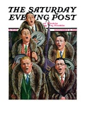 """Singing Men in Raccoon Coats,"" Saturday Evening Post Cover, November 16, 1929 Giclee Print by Alan Foster"