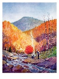 """Mountain Stream in Autumn,""October 1, 1938 Giclee Print by Albert B. Marks"