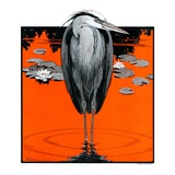"""Crane and Lilly Pads,""May 3, 1924 Giclee Print by Paul Bransom"