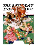 """Cow Joins the Picnic,"" Saturday Evening Post Cover, August 26, 1933 Giclee Print by Joseph Christian Leyendecker"