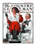 """Woman Gets Bob at Barbershop,"" Country Gentleman Cover, January 17, 1925 Giclee Print by Elbert Mcgran Jackson"