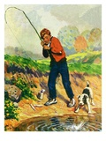 """He's Got a Fish!,""April 1, 1927 Giclee Print by George Brehm"
