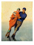 """Skating Couple,""February 1, 1928 Giclee Print by McClelland Barclay"