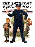 """Policeman and Boy with Slingshot,"" Saturday Evening Post Cover, March 15, 1930 Giclee Print by Frederic Stanley"