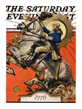 """George Washington on Horseback,"" Saturday Evening Post Cover, July 2, 1927 Giclee Print by Joseph Christian Leyendecker"