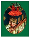 """""""Christmas Peek,""""December 23, 1939 Giclee Print by J.C. Leyendecker"""