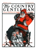 """Santa Overhears,"" Country Gentleman Cover, December 22, 1923 Giclee Print by F. Lowenheim"
